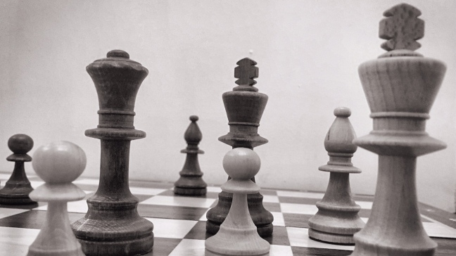Black and white photo of chess board